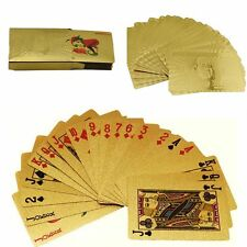 Hoja de oro Quilates Chapado Completo Poker jugando a las cartas Con Caja Regalo