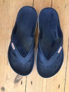 Crocs Chunky Navy Flip Flops Size 7