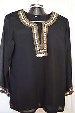 Designer Black Chiffon Lined Embellished Detail Tunic Blouse size 40 ( M L )