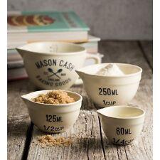 Mason Cash VARSITY 4 Piece MEASURING SET Measuring Jug + 3 Cups CERAMIC Cream