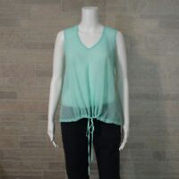 NEW Have Misses LARGE Sheer Mint Green Embroidered High Low Hem Tunic Shirt Top