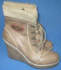 91c7445c9d1 Women s Reneeze Cuffed Booties Boots Wedge Heels Platform Size 8