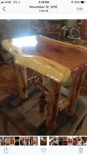 Rustic Red Cedar Log END TABLE WITH LOG SHELF