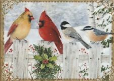 Modern Wide Linen Xmas P17 Birds Together On Fence Swap Playing Card