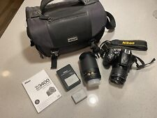 Nikon D3400 Digital SLR Camera - Black - ACCESSORIES - TWO LENSES - BAG ETC.