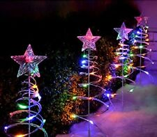 Christmas Spiral Tree Set Of 4 Outdoor Xmas Led Lighting Decoration Home Garden