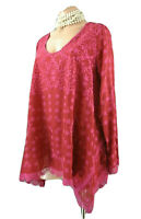 Johnny Was Jossimar Pink RED Embroidered Eyelet Tunic S Bohemian Top A line