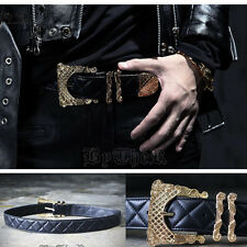 ByTheR Men's Black Punk Fashion Leather Quilting Golden Buckle One Size Belt