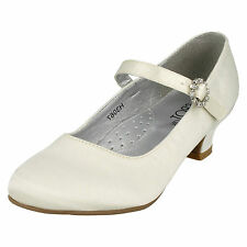 Girls Satin Ivory Party/Bridesmaid Shoes / Sizes 10x2 H3067