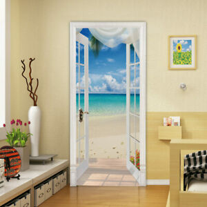 New 3D Blue sea Door Wall Wall Sticker Decals Self Adhesive Mural Home Deco PVC