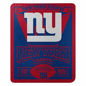 "New NY Giants Licensed ""Marque"" Fleece Throw Blanket 50"" X 60"""