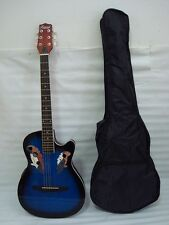 6 String Acoustic Electric Guitar, Round Back, Oval Back, Blueburst, Free Bag
