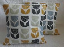 "14"" Cushion Cover Saffron Yellow Mustard Grey Tulip Flower Handmade New 35cm"