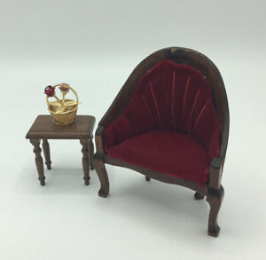 Dolls House Armchair With Side Table
