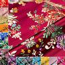Chinese Cheongsam Satin Faux Silk Fabric Floral Brocade Dress Clothes DIY Retro