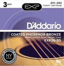 D'Addario EXP26-3D Phosphor Bronze Acoustic Guitar Strings 3 Pack