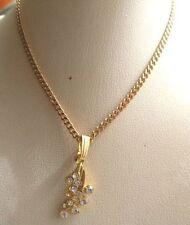 collier pendentif chaine bijou vintage couleur or avec cristaux diamant * 4816