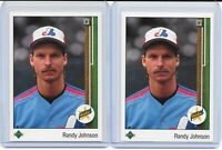 (2) 1989 Randy Johnson #25 RC LOT Seattle Mariners CLEAN HOF Expos Diamondbacks