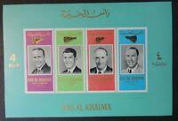 Ras Al Khaima 1966 space astronauts carpenter schirra stafford lovell M/S MNH