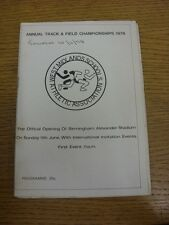 10/06/1978 Athletics Programme: West Midlands Schools - Annual Track & Field Cha