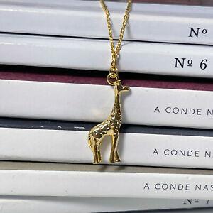 "14ct Gold Plated Giraffe Necklace 18"" Metal Safari Animal Jewellery Pendant Gift"