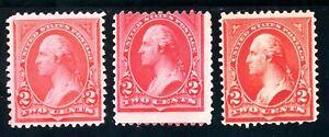 USAstamps Unused FVF US 1894/98 Bureau Washington Scott 248, 279b NG, 265 OG MLH