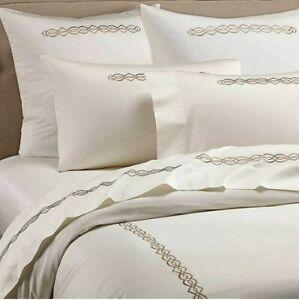 Frette Boho Embroidery Sateen Cotton DUVET COVER Queen Ivory/Caramel Beige New