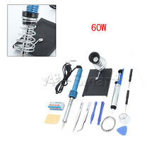 New 14in1 60W 110V Electric Soldering Tools Kit Set Iron Stand Desoldering Pump