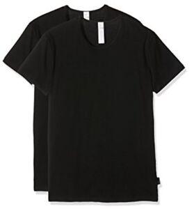 2-er Pack SLOGGI MEN T-Shirt 03- Gr. L / 6 schwarz -Herren Unterhemd Cotton NEU