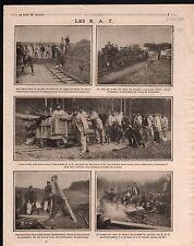 WWI Poilus R.A.T. Wagons Wagonnets Paris/Auto-Canons Ypres Gun 1914 ILLUSTRATION