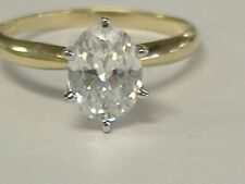 Solitaire Engagement Ring Size 7.25 Vintage Solid 10K Gold Cz