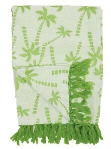 Green Palm Trees Chenille Throw Blanket 60 X 50 Inches