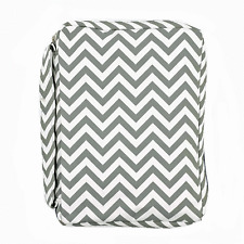 GREY BIBLE COVER Chevron Stripes Holy Book Tote Pocket Zipper Soft Carry Case