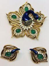 Unique Signed BOUCHER Blue Enamel Green Gripoix Glass Faux Emerald Peacock Set