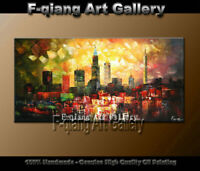 Large Modern City Abstract Oil Painting Contemporary Wall Art Canvas Framed Deco