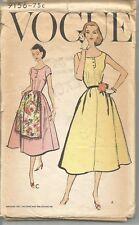 "Vogue Sewing Pattern 9156, Vintage 1957 Dress, Size 12, Bust 32"" Unused"