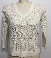 Hollister Women Top Lace Off White Lined Cotton V Neck Long Sleeve Sz Large
