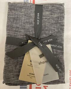 West Elm sham EURO 100% Belgian flax melange linen Shadow-Blue  pillowcase NWT