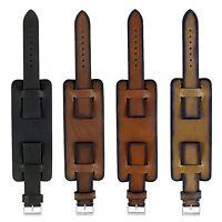 DASSARI Gauntlet Vintage Italian Leather Mens Cuff Bund Watch Band Strap