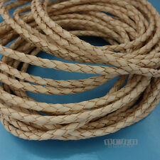 """50+21+20"""" 3mm Round Braided Beige Genuine Leather Cord for DIY Jewelry/Necklace"""