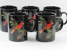 Otagiri Cardinal Black Coffee Cups Mugs Lot of 5