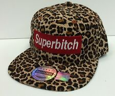 Custom Cool Hip Trendy Brown Cheetah SUPERBITCH Hat Snapback Flat Bill Cap