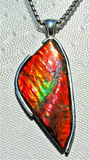 42 ct. AMMOLITE PENDANT, Solid Sterling Silver ,HANDMADE- USA, Feng Shui Prized