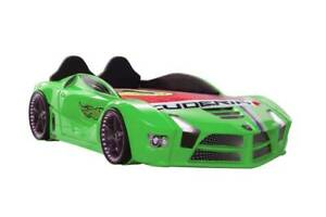 Kids New Race Green Car bed leather seat and Music LEDlights Child/Teen Bed room