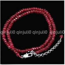 """Natural 2x4mm Brazil Red Ruby Faceted  Roundel  Gemstone necklace 18"""""""