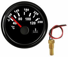 Water Temp Gauge With Sender,100-250F,287.4-22. 4ohms,52Mm,Black For Cars Marine