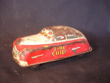 Old Vtg Courtland Walt Reach Wind Up Tin Litho Fire Chief Department Car Toy