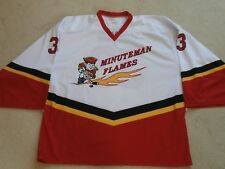 ea452071c MINUTEMAN FLAMES #33 GAGNON WHITE RED BLACK & GOLD HOCKEY JERSEY PROJOY MEN  54