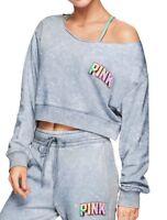 Victoria's Secret PINK Sweatshirt Cropped Blue Off Shoulder Slouchy L Large