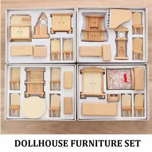 Wooden DollHouse Furniture Set Bedroom Kitchen Living Room Dining Room